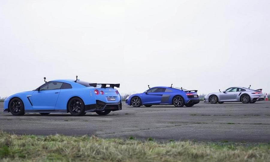 Хто швидший: Nissan GT-R Nismo, Audi R8 проти Porsche 911 Turbo S (ВІДЕО)